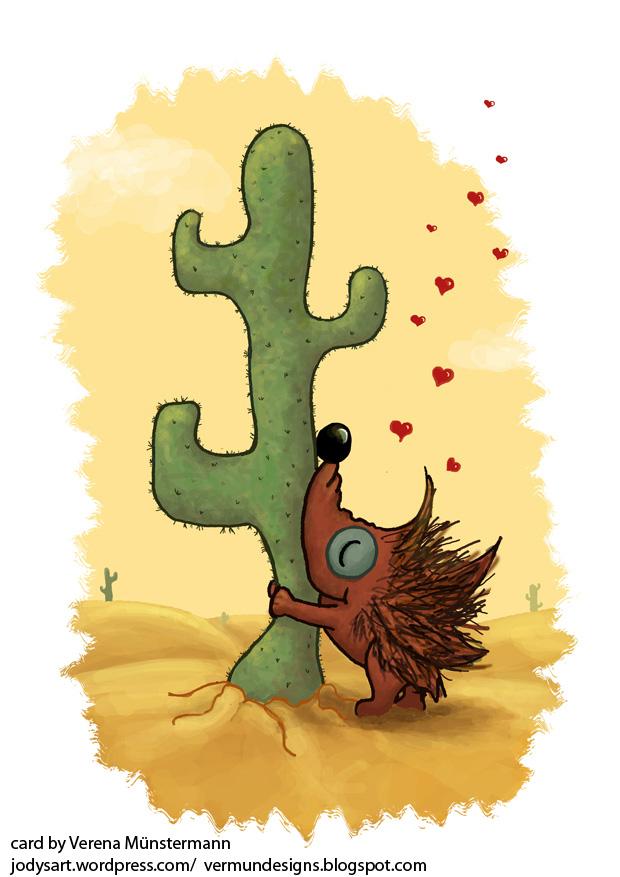 Valentine's card: ein Ugel umarmt verliebt einen Kaktus
