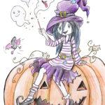 Luna zaubert auf riesigem Kürbis sitzend