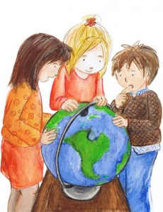 Kinder lernen die Erde kennenn anhand einer Weltkugel