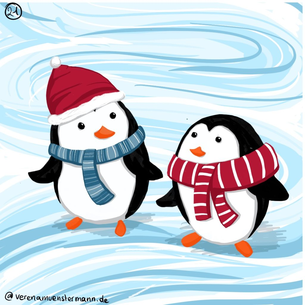 Verena Muenstermann Weihnachtlich illustration Pinguin