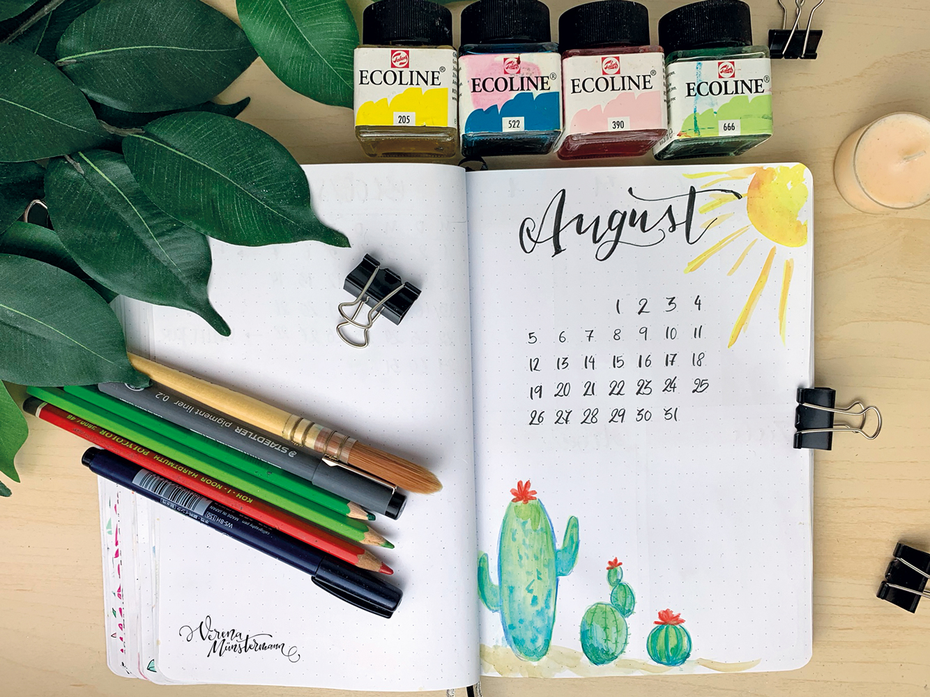 Bullet Journal Setup – August