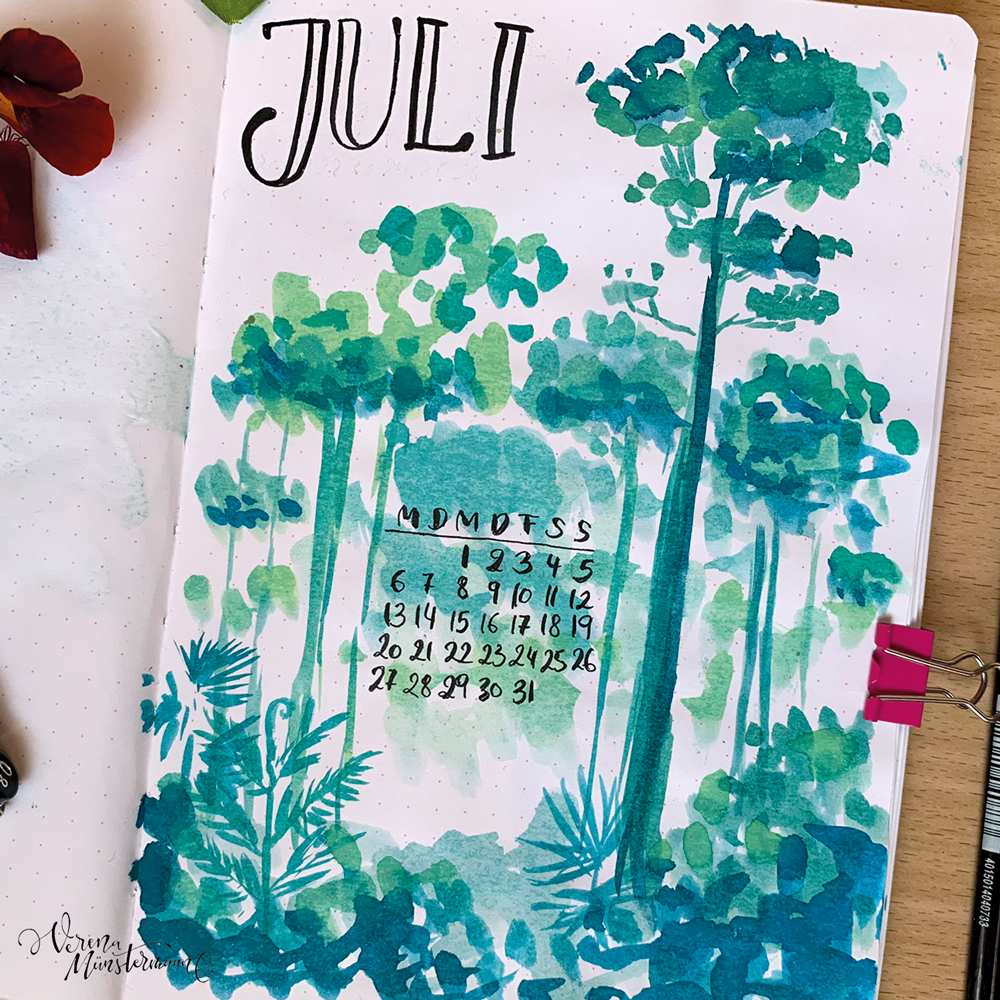 verenamuenstermann - Bullet Journal - Titelblatt - Juli
