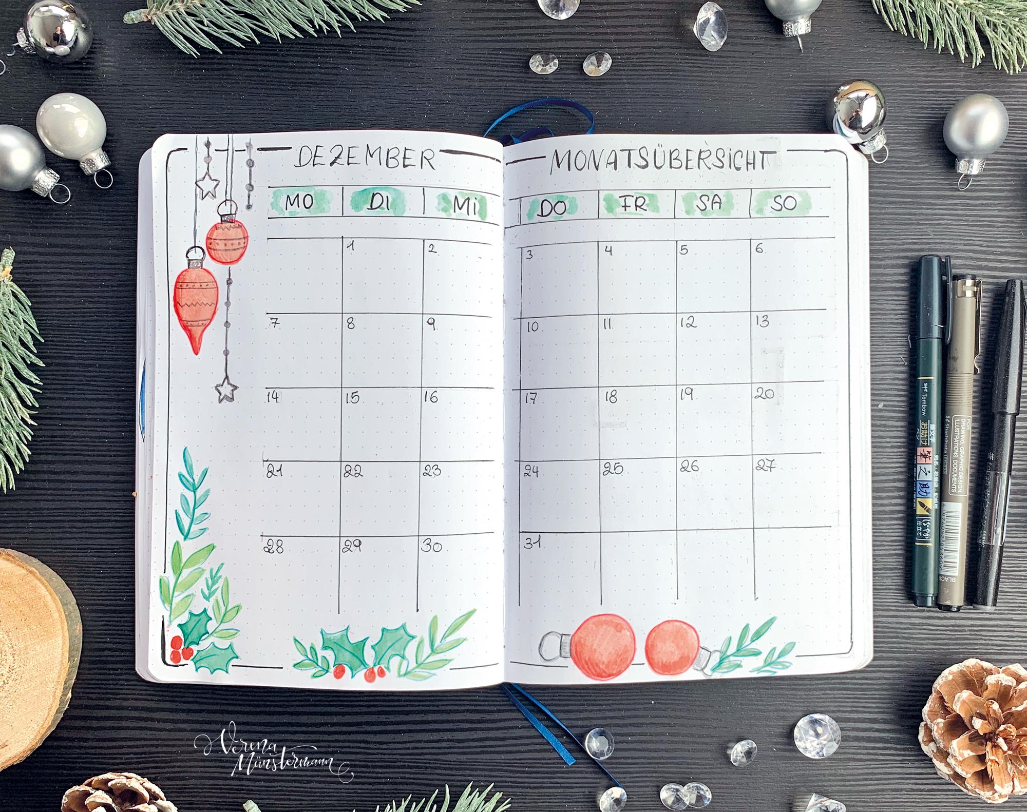 verenamuenstermann - Bullet Journal - Dezember - Monatsübersicht
