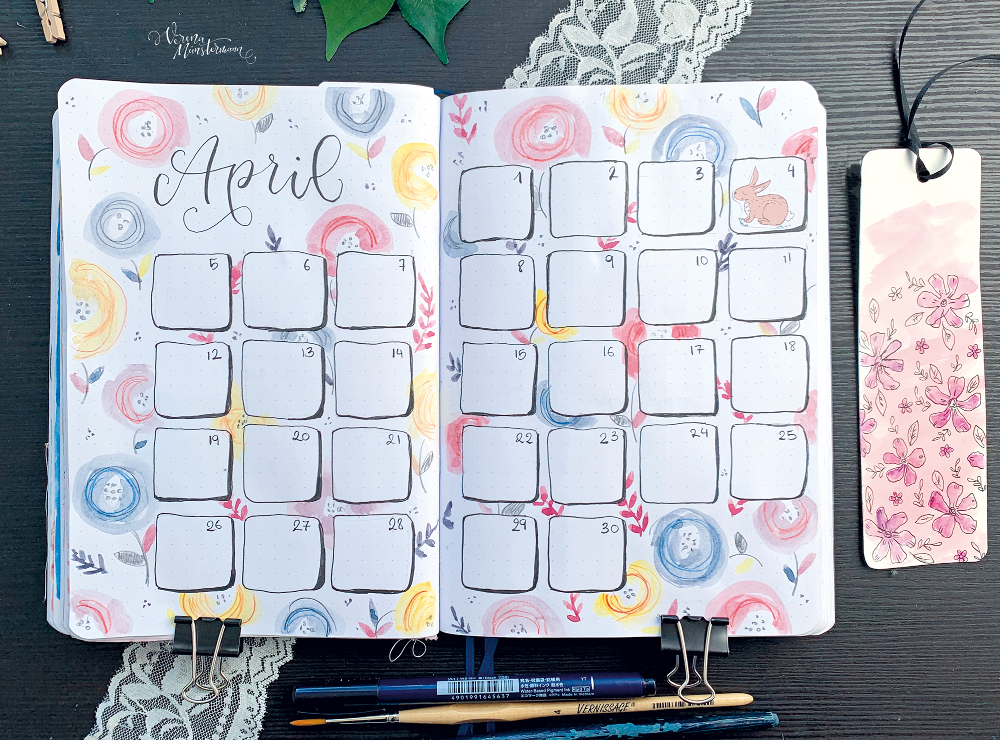 Bullet Journal Setup - April - Titelblatt - verenamuenstermann