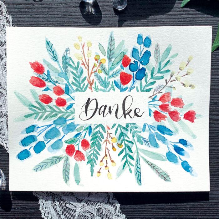 Kartendesign mt Aquarell – Dankeskarte